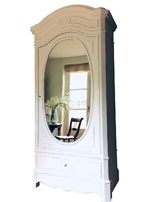 Antique French Mirrored Painted Old White Armoire Wardrobe Hall Cupboard