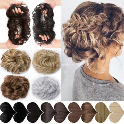 UK Womens Messy Hair Scrunchie Natural As Human Bun Hair Piece Up Do Extensions