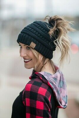 Soft Knit Messy Ponytail Beanie For Women. Teens, Girls Even Men