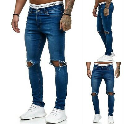 Young Mode destroyed Herren Style Skinny Fit Röhre Blau Jeans Hose Zerissen