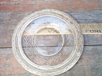 Wallace Sterling Trim Etched Glass Plate