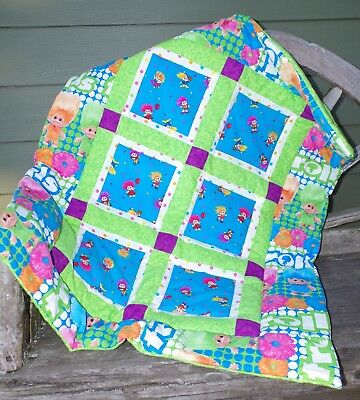 Handmade Colorful Troll Doll Baby Quilt Cotton Blanket Unique NEW