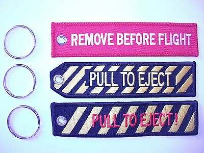 Remove Before Flight & Pull To Eject  Key Rings .x3  uk seller free p+p