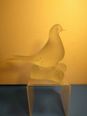 Large Frosted Glass Dove On Branch Sculpture Paperweight - Read Condition -