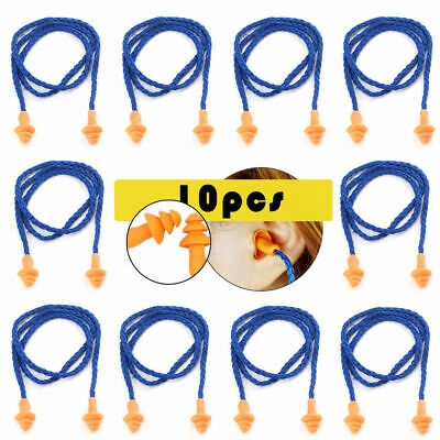 10 Pairs Silicone Hearing Protection Earplugs Corded Ear Plugs Ear Defenders Set