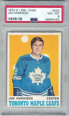 1970-71 O-Pee-Chee Opc Jim Harrison Rookie Psa 8 Toronto Maple Leafs #220