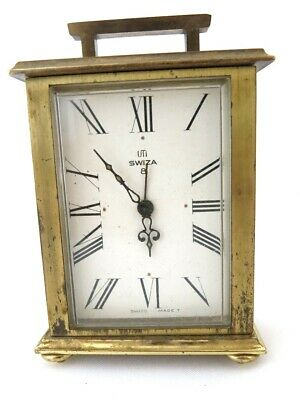 Swiza 8 Day Vintage Rare Mantle Shelf Alarm Clock - Brass Cased, Swiss Working