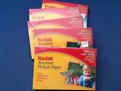 5 boxes Kodak Anytime Picture Photo Paper 4x6 500 Sheets Soft Gloss New