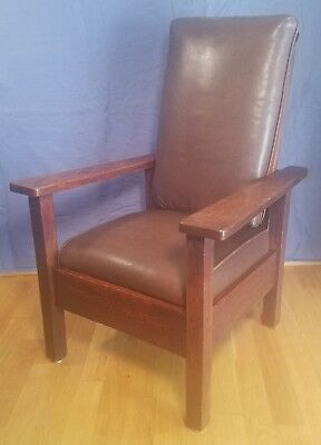 C.1910 Stickley Brothers Child's Morris Chair Arts & Crafts Mission Oak Antique