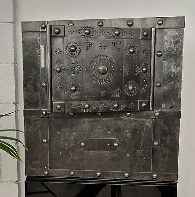 19th Century Italian Hobnail Antique Safe, studded safe, strongbox , iron chest