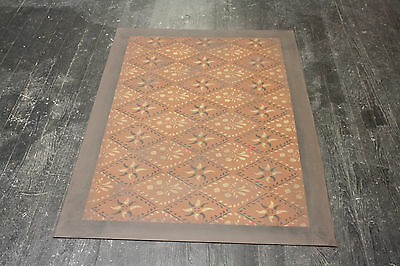 "Floorcloth 4'X6' ""CONCERTO"" Beautiful Hand-Painted Primitive Colonial Area Rug"