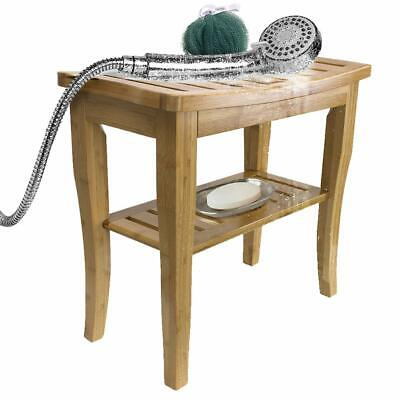 Bamboo Shower Bench Stool with Shelf, 2-Tier Wood Storage & Seating for Bathroom