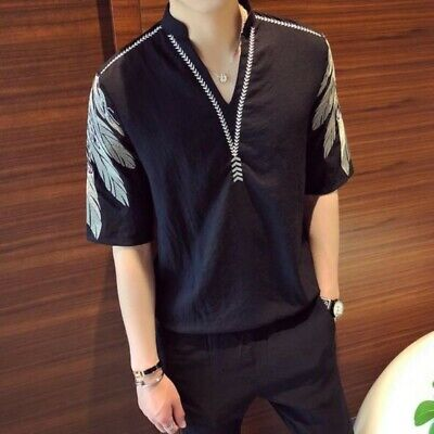 Summer Men Tops Embroidery Short Sleeve Korean Loose Comfort Leisure T-shirts Sz