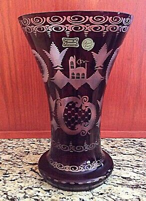 "Antique Etched Egermann Ruby Red Crystal Czech Bohemian Large 10"" Vase"