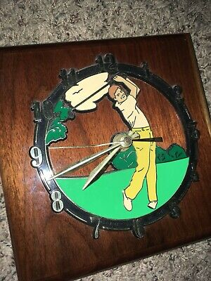 Vintage Wooden Golfing Pro Man Wall Clock - Rare Wood Golfer Golf Antique Clocks