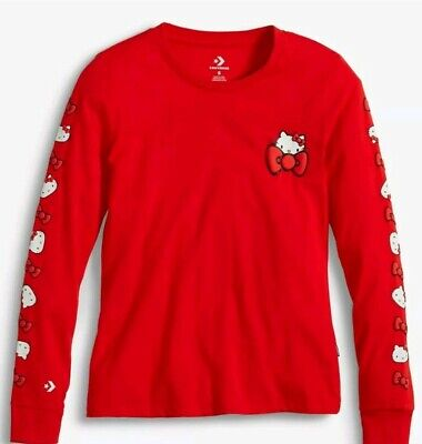 Converse x Hello Kitty Junior size Long Sleeve T Shirt in Red color.Medium.Bnwt!