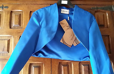 Bolero Coprispalle Blu Royal In Raso Tg. 50