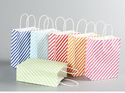 10Pcs £3.5 Candy Stripe Paper Carrier Bags Party Gift Wedding Hen Night Loot Bag