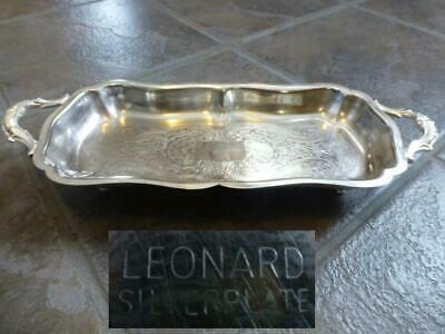 Vintage Leonard Silver Company Footed  Bread~Baked Goods Tray ~ Silver Plate