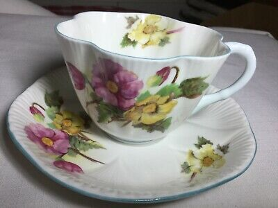 Shelley Bone China Cup And Saucer England   Begonia