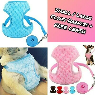 Fluffy n Soft Pet Harness with FREE LEASH Puppy Dog Chihuahua Kitten Small Cat