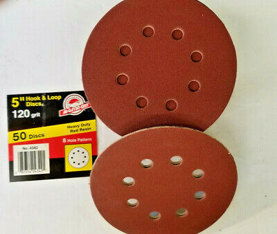 "5"" x 8 Hole Hook and Loop 120 Grit Sanding Discs, 50 Discs, Ali Abrasives, USA"