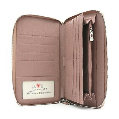 Brelox Travel Family RFID Passport Holder Wallet - Genuine Leather - Pink