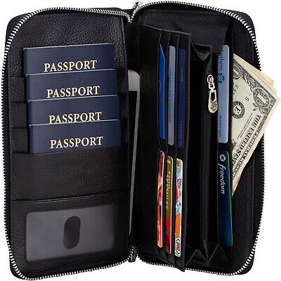 Brelox Travel Family RFID Passport Holder Wallet - Genuine Leather - Black