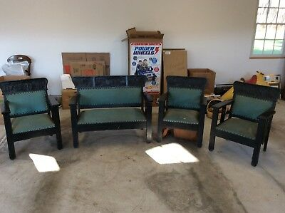 Vintage Charles Stickley Bench And 3 Arm Chairs Mission Oak 1900's-Holy Land