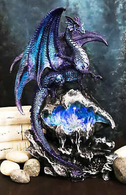 Ancient Cave Guardian Dragon in Crystal Rock LED Night Light Statue Figurine