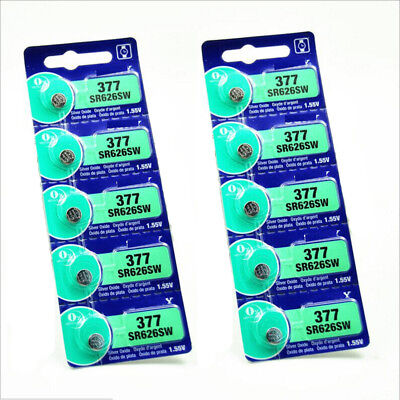 5Pcs 1.55V Silver Oxide Button-type Watch Toys Batteries For Sony 377 SR626SW