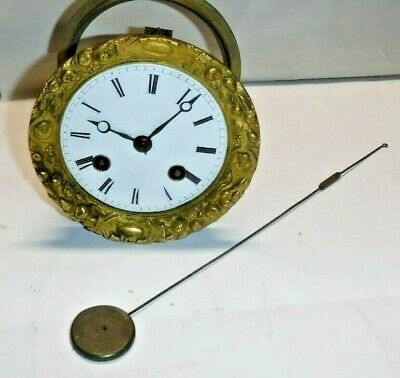 Antique French Japy Frere Silk Thread Clock movement Porcelain Dial Parts Repair