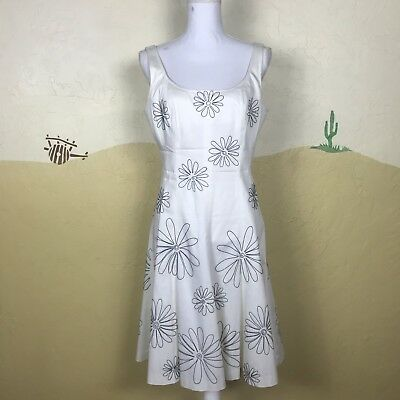 4d562ac10 Nine West Womens Size 10 White Floral Embroidered Sleeveless Fit and Flare