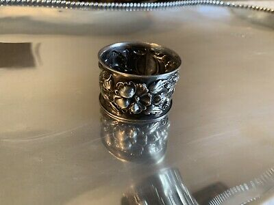 Antique Sterling Silver Napkin Ring, Ornate  Floral Decoration BEAUTIFUL!