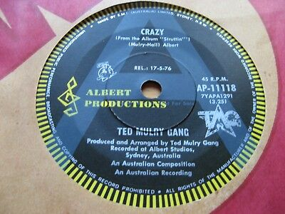 """TED MULRY GANG - Crazy 7"""" - ALBERT """"ROO"""" A LABEL - Australia - PROMO ONLY - OZ"""