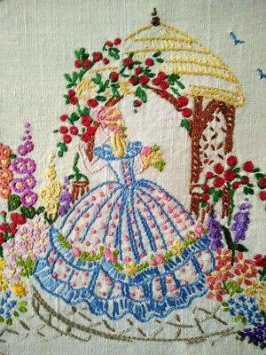 Stunning Blue Crinoline Lady & Red Rose Arbour Vintage Hand Embroidered Panel
