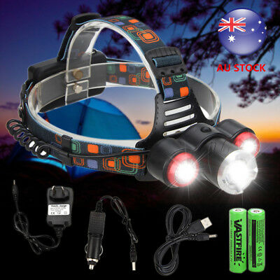 Usb 50000Lm 3X T6 Xm-L Led Rechargeable Headlamp Head Torch Flashlight Camping