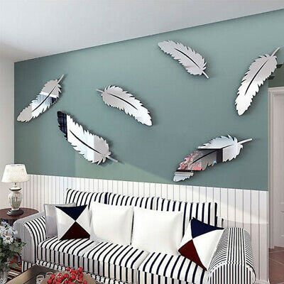 Novelty 8pcs Feather Designed 3D Mirror Craft Kid Home Decor Wall Stickers