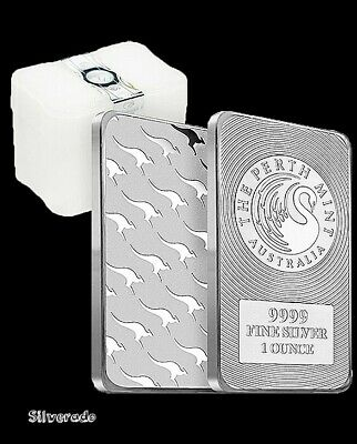 Perth Mint Kangaroo Silver Bar Minted Rectangle 1oz FREE SLEEVE & REGISTERD POST