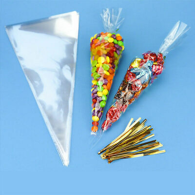 100 Clear Cellophane Cone Bags Large Kids Party Plastic Cello Sweet Bag 18x 37cm