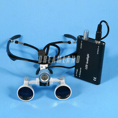 Dental 3.5X Binocular Loupes Magnifier Glasses + LED Head Light Lamp black Kit