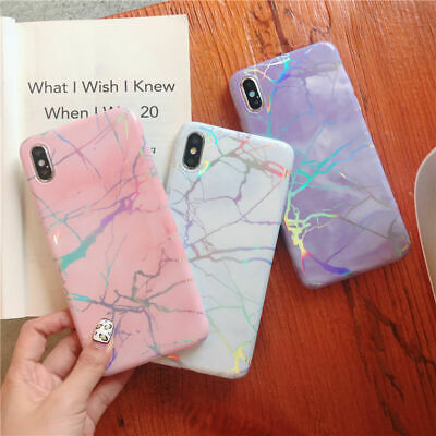 Shockproof Glossy Shiny Marble Iridescent Holographic Holo Soft Phone Case Cover