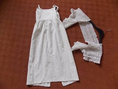 vintage baby gown and ladies lacy cotton crochet shrug