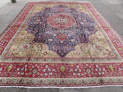 Old Hand Made Traditional Persian Rugs Oriental Wool Blue Large Carpet 387x302cm