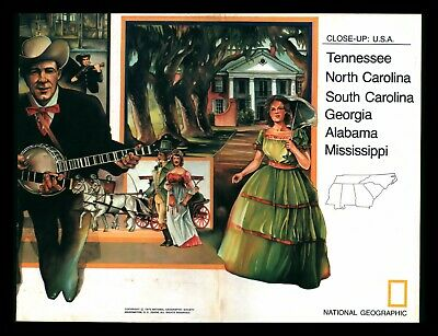 """""""Southeast U.S.A."""" 1975 National GeographIc Close-Up Cultural Study & Map"""