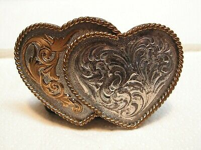 VINTAGE MONTANA SILVERSMITHS DOUBLE HEART BELT BUCKLE - Nice!