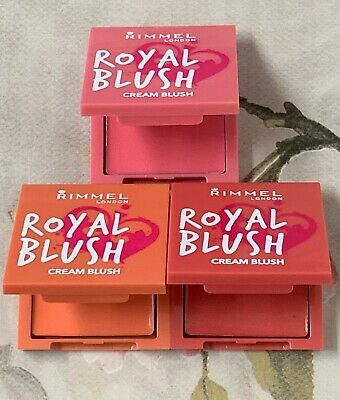 RIMMEL Royal Blush, Cream To Powder Blusher Compact. 3 Shades To Choose From x