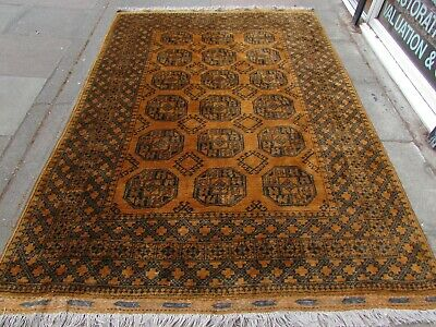 Old Hand Made Traditional Golden Afghan Tribal Wool Gold Large Carpet 275x188cm