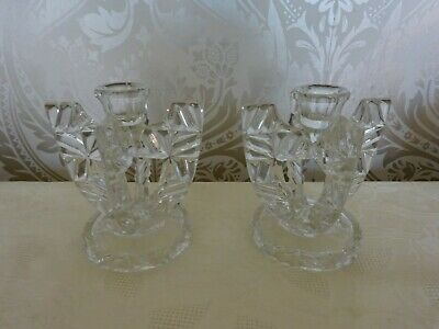 Vintage Retro Pair of Cut Patterned Glass Chunky Art Deco Candlesticks 14cm Tall