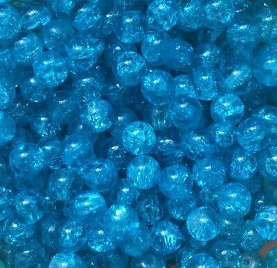 100 X Coloured Glass Round Crackle Jewellery Beads - 8mm - Blue Aqua Ocean